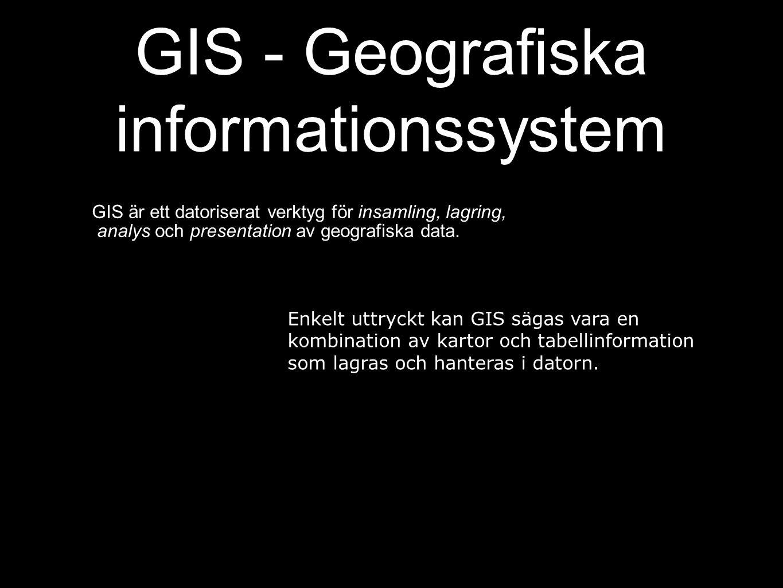 GIS - Geografiska informationssystem GIS är ett datoriserat verktyg för insamling, lagring, analys och presentation av geografiska data.