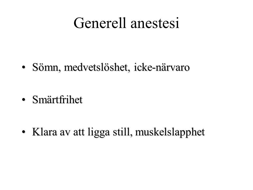 Generell anestesi Sömn, medvetslöshet, icke-närvaroSömn, medvetslöshet, icke-närvarosömnmedel SmärtfrihetSmärtfrihetsmärtstillande Klara av att ligga still, muskelslapphetKlara av att ligga still, muskelslapphet (muskelrelaxantia)