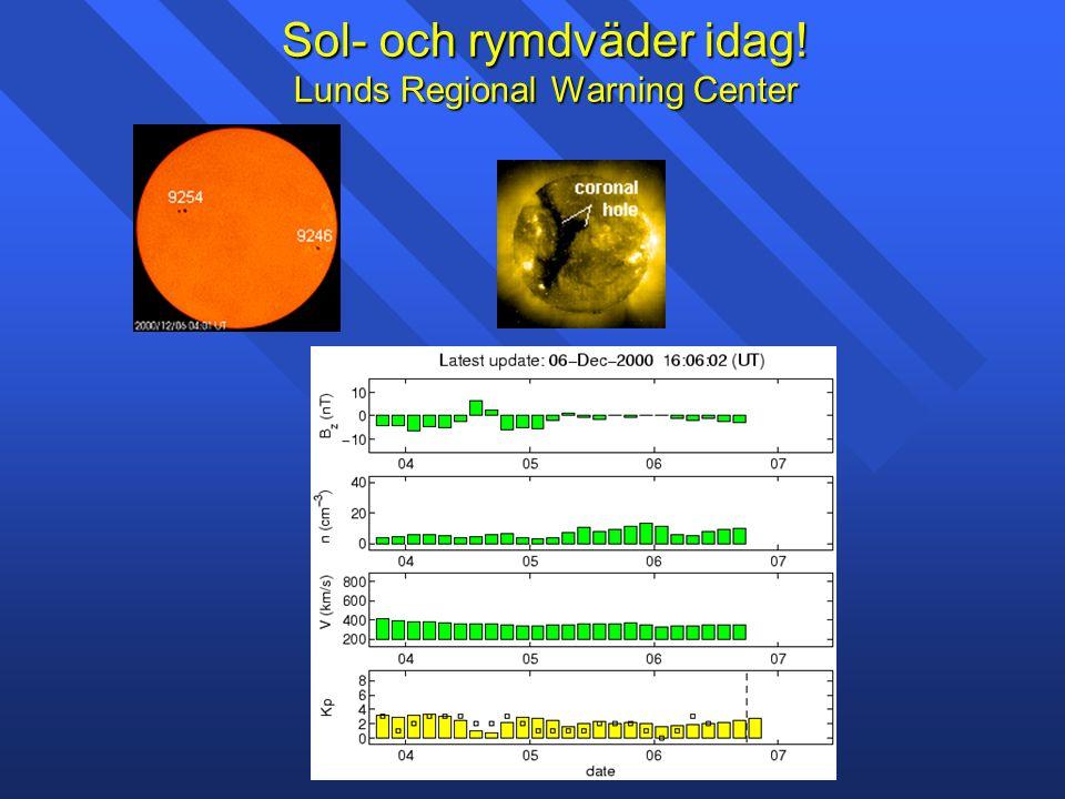 Sol- och rymdväder idag! Lunds Regional Warning Center