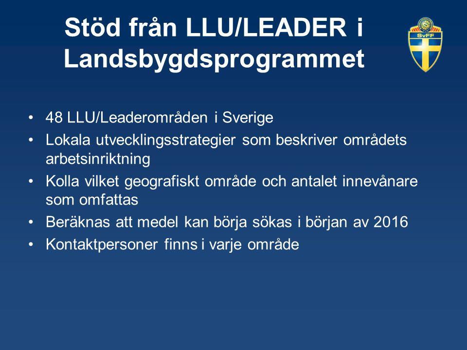 Stöd från LLU/LEADER i Landsbygdsprogrammet 48 LLU/Leaderområden i Sverige Lokala utvecklingsstrategier som beskriver områdets arbetsinriktning Kolla vilket geografiskt område och antalet innevånare som omfattas Beräknas att medel kan börja sökas i början av 2016 Kontaktpersoner finns i varje område