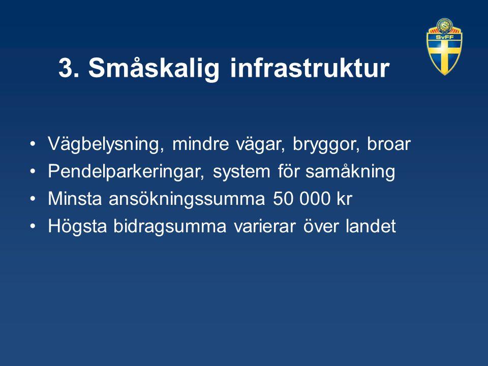 3. Småskalig infrastruktur Vägbelysning, mindre vägar, bryggor, broar Pendelparkeringar, system för samåkning Minsta ansökningssumma 50 000 kr Högsta