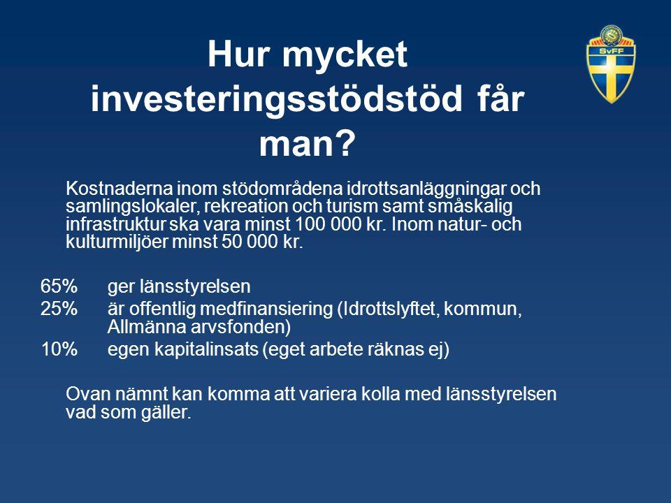Hur mycket investeringsstödstöd får man? Kostnaderna inom stödområdena idrottsanläggningar och samlingslokaler, rekreation och turism samt småskalig i
