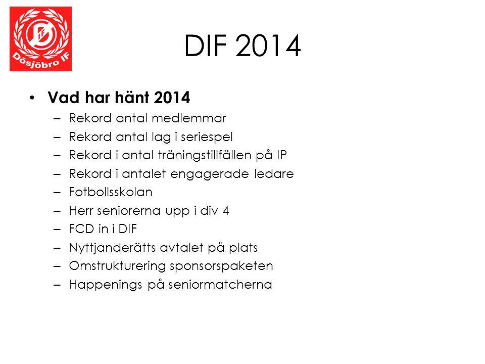 DIF 2014 Vad har hänt 2014 – Rekord antal medlemmar – Rekord antal lag i seriespel – Rekord i antal träningstillfällen på IP – Rekord i antalet engage