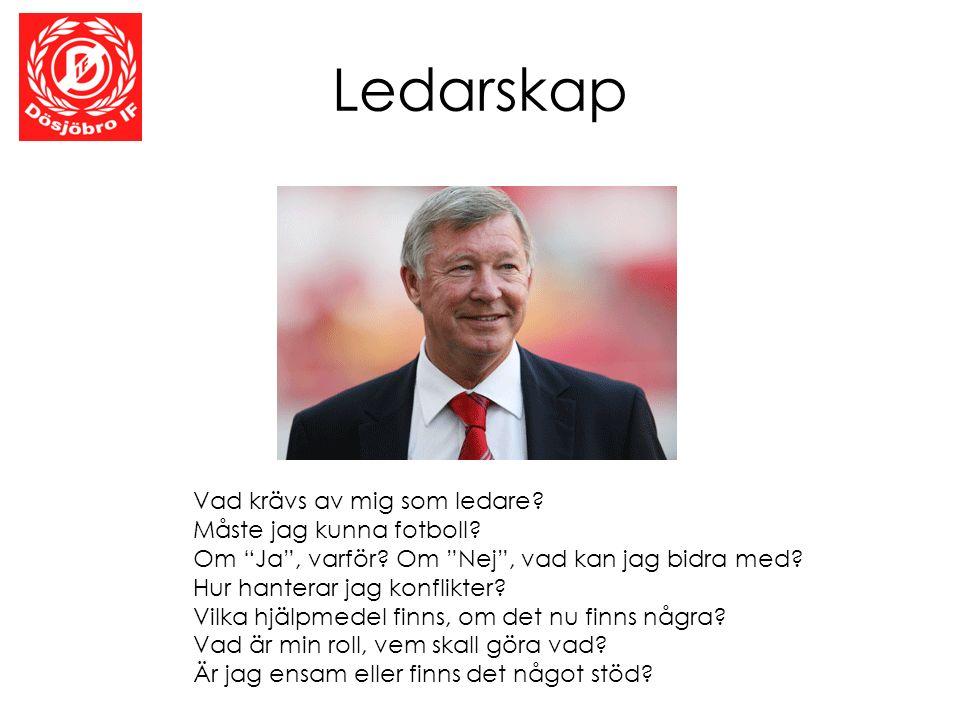 """Ledarskap Vad krävs av mig som ledare? Måste jag kunna fotboll? Om """"Ja"""", varför? Om """"Nej"""", vad kan jag bidra med? Hur hanterar jag konflikter? Vilka h"""