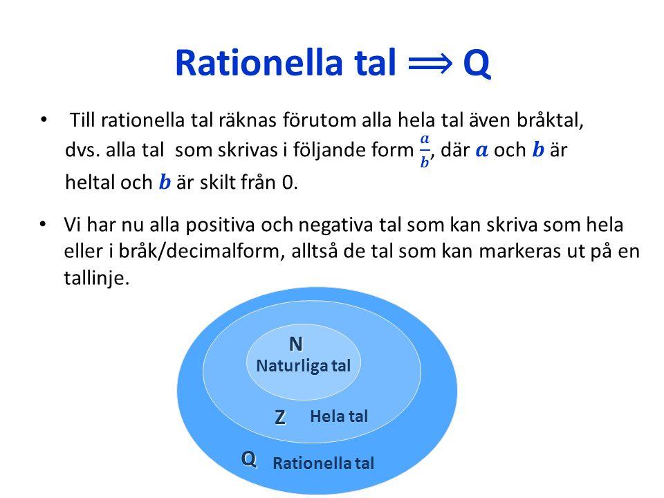 Rationella tal ⟹ Q Vi har nu alla positiva och negativa tal som kan skriva som hela eller i bråk/decimalform, alltså de tal som kan markeras ut på en tallinje.