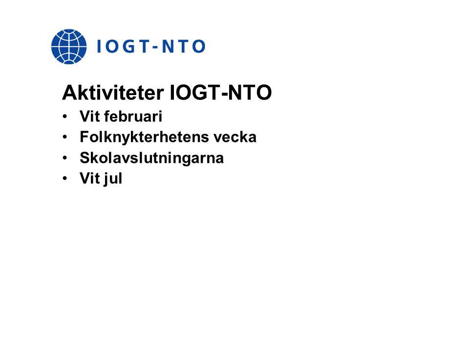 Aktiviteter IOGT-NTO Vit februari Folknykterhetens vecka Skolavslutningarna Vit jul