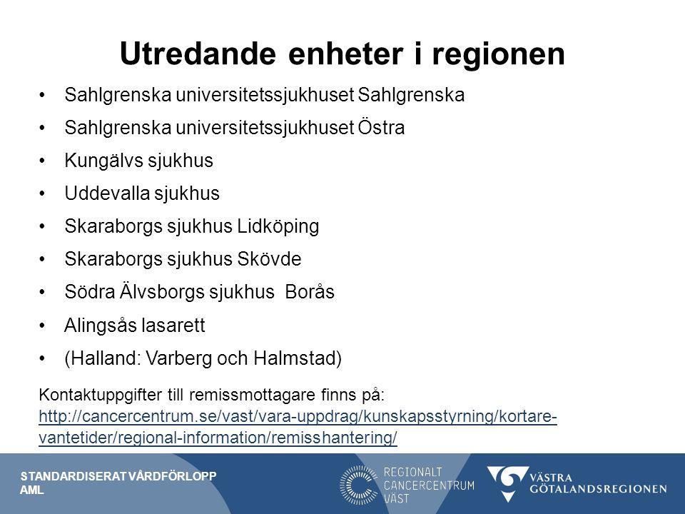 Utredande enheter i regionen Sahlgrenska universitetssjukhuset Sahlgrenska Sahlgrenska universitetssjukhuset Östra Kungälvs sjukhus Uddevalla sjukhus Skaraborgs sjukhus Lidköping Skaraborgs sjukhus Skövde Södra Älvsborgs sjukhus Borås Alingsås lasarett (Halland: Varberg och Halmstad) Kontaktuppgifter till remissmottagare finns på: http://cancercentrum.se/vast/vara-uppdrag/kunskapsstyrning/kortare- vantetider/regional-information/remisshantering/ http://cancercentrum.se/vast/vara-uppdrag/kunskapsstyrning/kortare- vantetider/regional-information/remisshantering/ STANDARDISERAT VÅRDFÖRLOPP AML