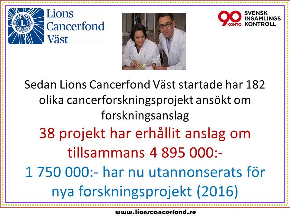 www.lionscancerfond.se Sammanställning 2010 – 2015 (t.o.m.