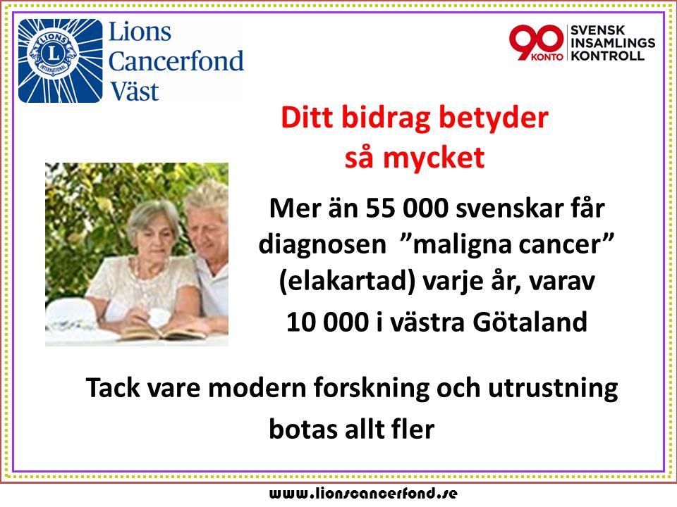 www.lionscancerfond.se Ditt bidrag betyder så mycket Mer än 55 000 svenskar får diagnosen maligna cancer (elakartad) varje år, varav 10 000 i västra Götaland Tack vare modern forskning och utrustning botas allt fler
