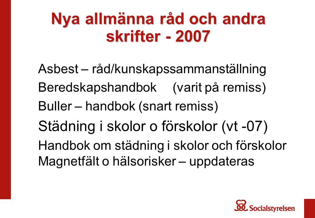 Nya allmänna råd och andra skrifter - 2007 Asbest – råd/kunskapssammanställning Beredskapshandbok(varit på remiss) Buller – handbok (snart remiss) Stä