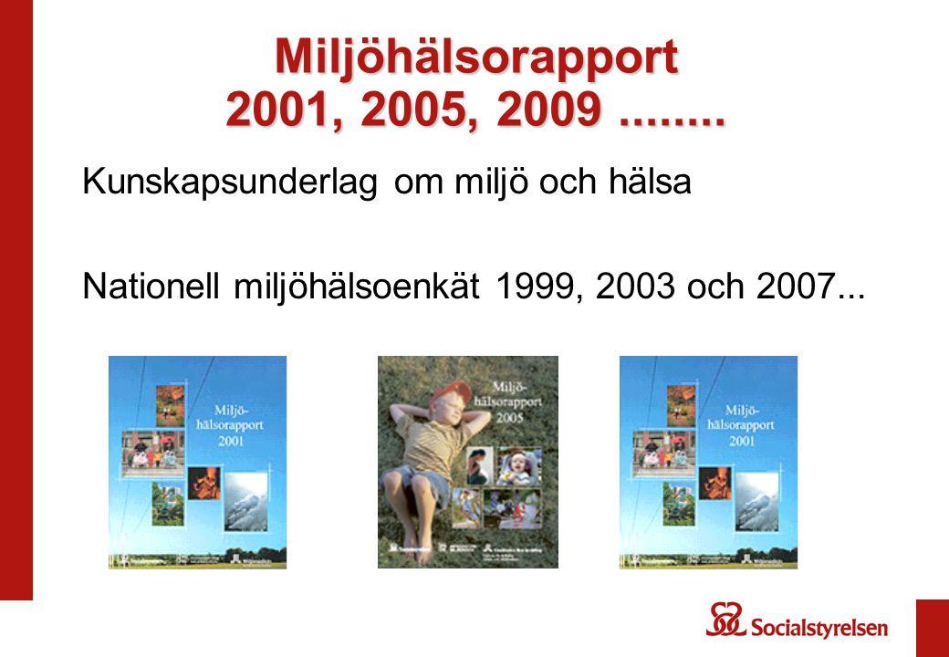 Miljöhälsorapport 2001, 2005, 2009........ Kunskapsunderlag om miljö och hälsa Nationell miljöhälsoenkät 1999, 2003 och 2007...