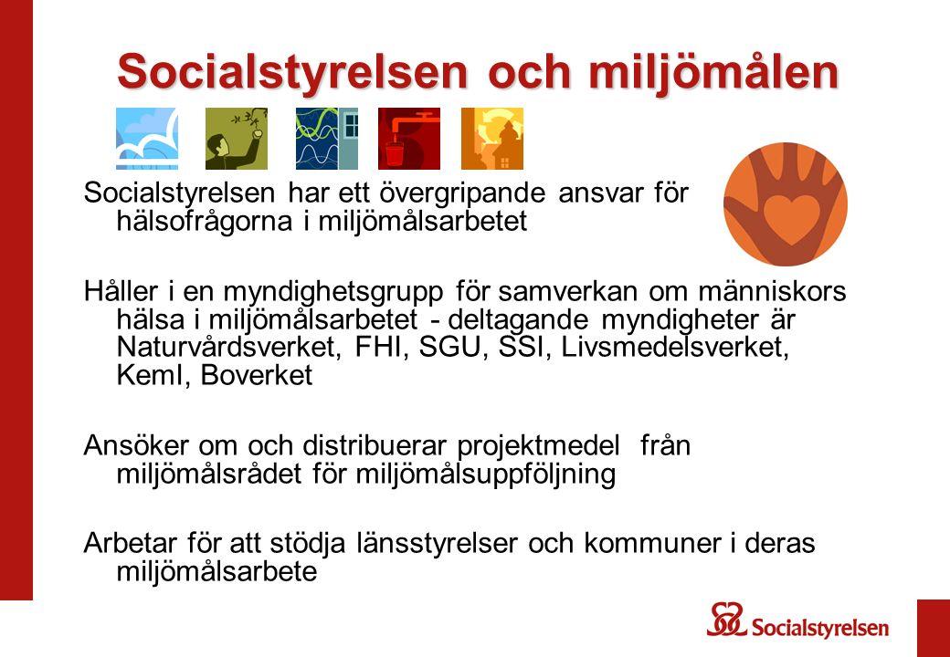 Socialstyrelsen och miljömålen Socialstyrelsen har ett övergripande ansvar för hälsofrågorna i miljömålsarbetet Håller i en myndighetsgrupp för samver