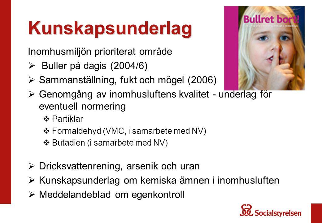 Kunskapsunderlag Inomhusmiljön prioriterat område  Buller på dagis (2004/6)  Sammanställning, fukt och mögel (2006)  Genomgång av inomhusluftens kv