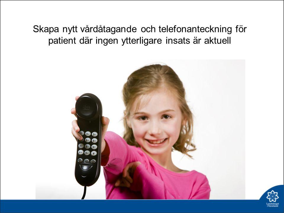 Skapa nytt vårdåtagande och telefonanteckning för patient där ingen ytterligare insats är aktuell