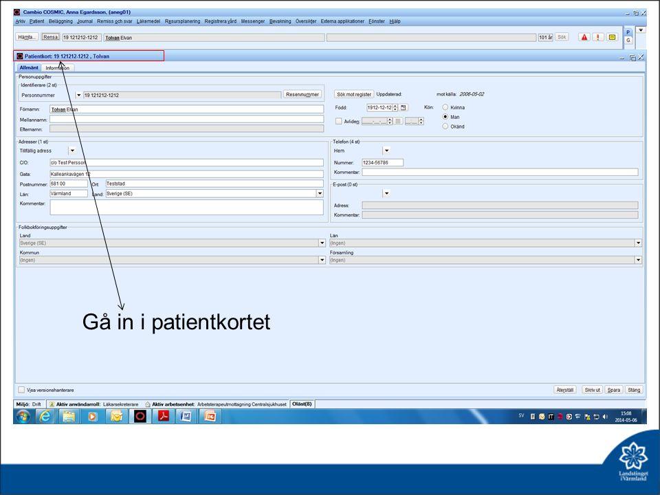 Välj fliken privat vårdbegäran Ange klassificering Spara