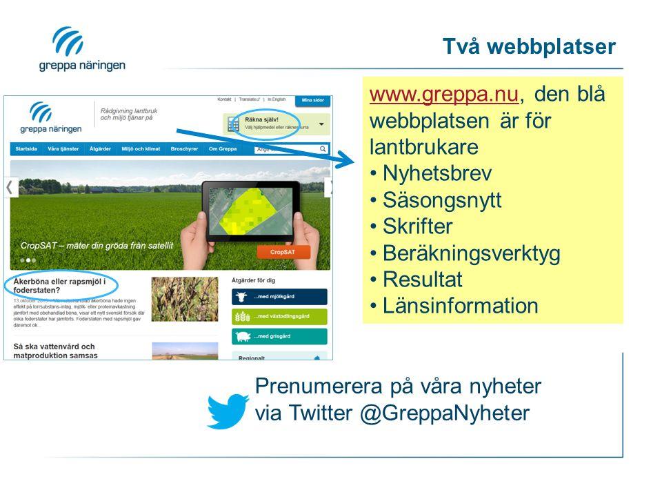 Två webbplatser www.greppa.nuwww.greppa.nu, den blå webbplatsen är för lantbrukare Nyhetsbrev Säsongsnytt Skrifter Beräkningsverktyg Resultat Länsinformation Prenumerera på våra nyheter via Twitter @GreppaNyheter