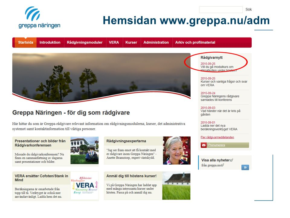 Hemsidan www.greppa.nu/adm
