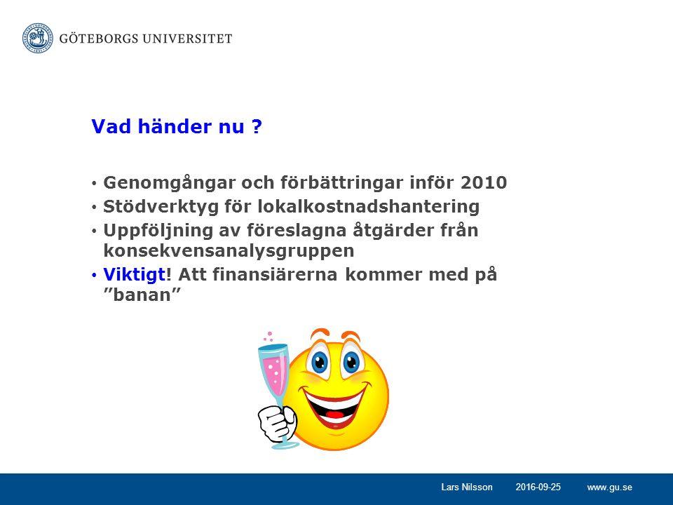 www.gu.se2016-09-25Lars Nilsson Vad händer nu ? Genomgångar och förbättringar inför 2010 Stödverktyg för lokalkostnadshantering Uppföljning av föresla