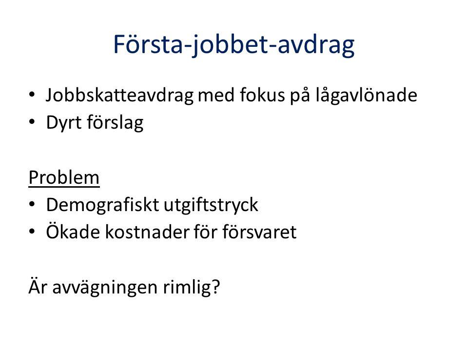 Första-jobbet-avdrag Jobbskatteavdrag med fokus på lågavlönade Dyrt förslag Problem Demografiskt utgiftstryck Ökade kostnader för försvaret Är avvägningen rimlig?