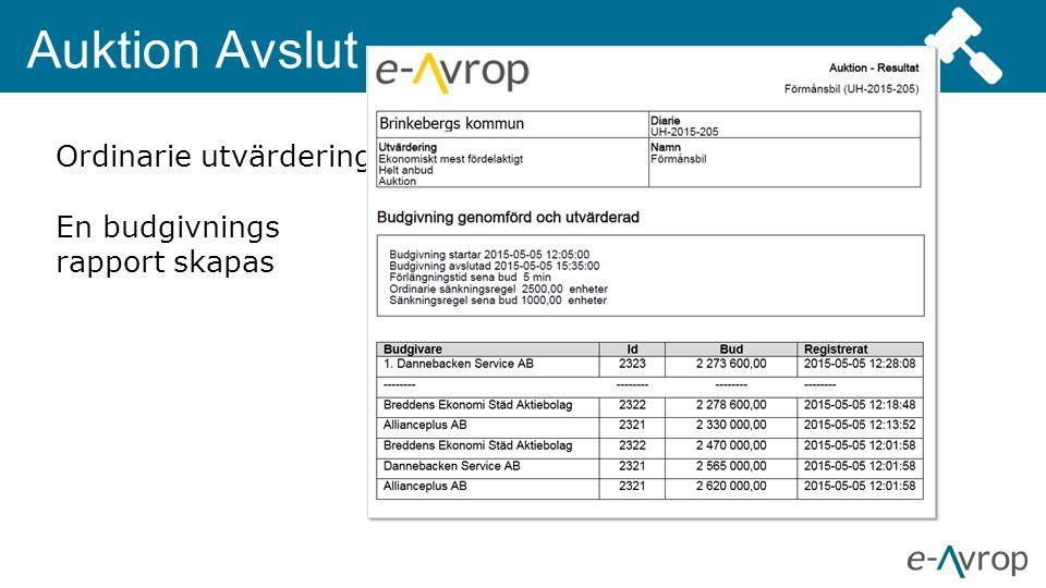 Auktion Avslut Ordinarie utvärderingsprotokoll uppdateras med resultatet En budgivnings rapport skapas