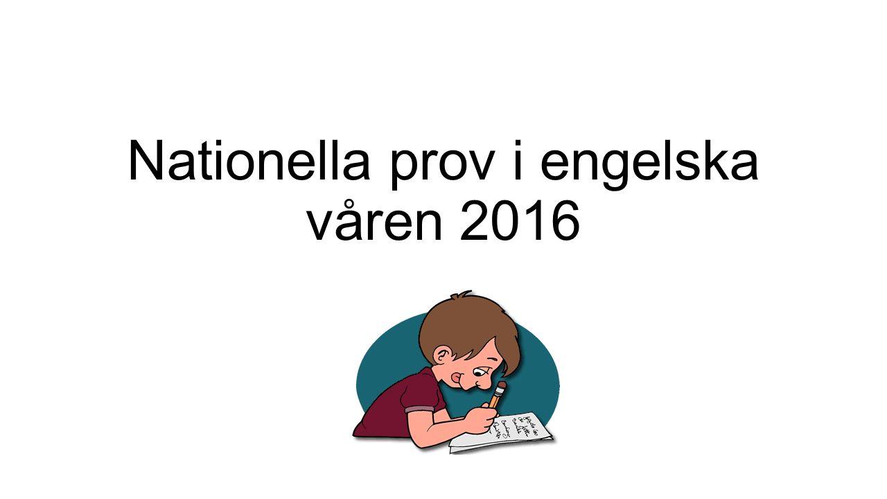 Nationella prov i engelska våren 2016
