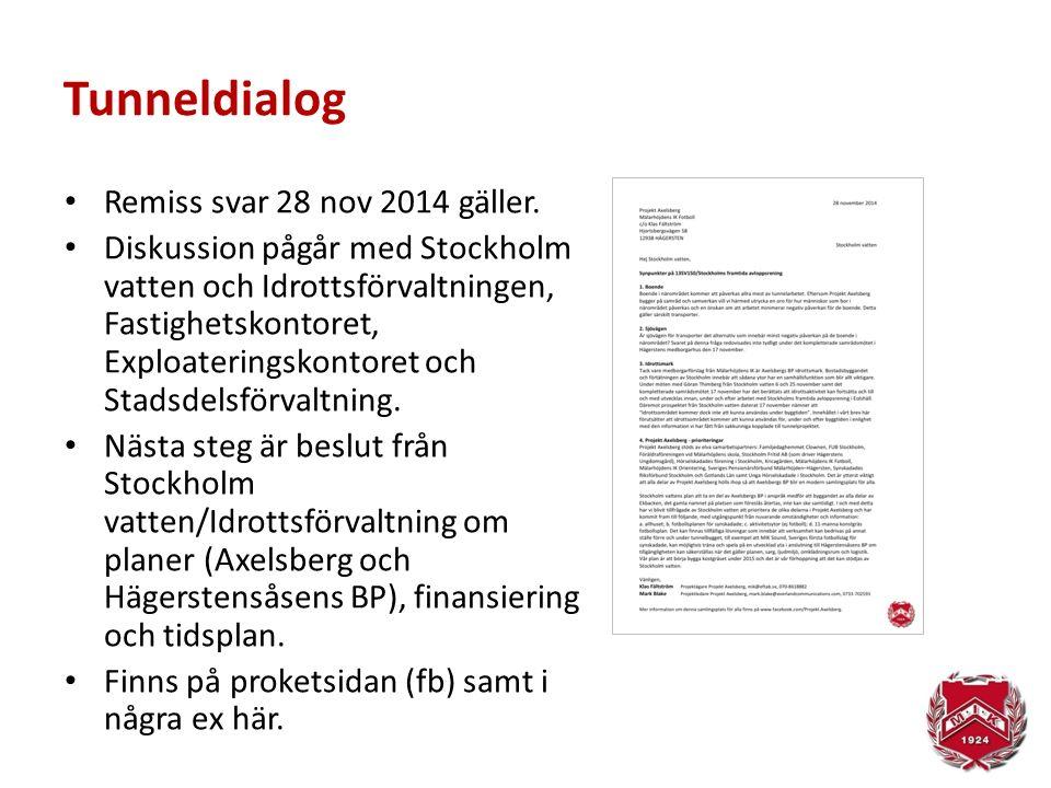 Tunneldialog Remiss svar 28 nov 2014 gäller. Diskussion pågår med Stockholm vatten och Idrottsförvaltningen, Fastighetskontoret, Exploateringskontoret