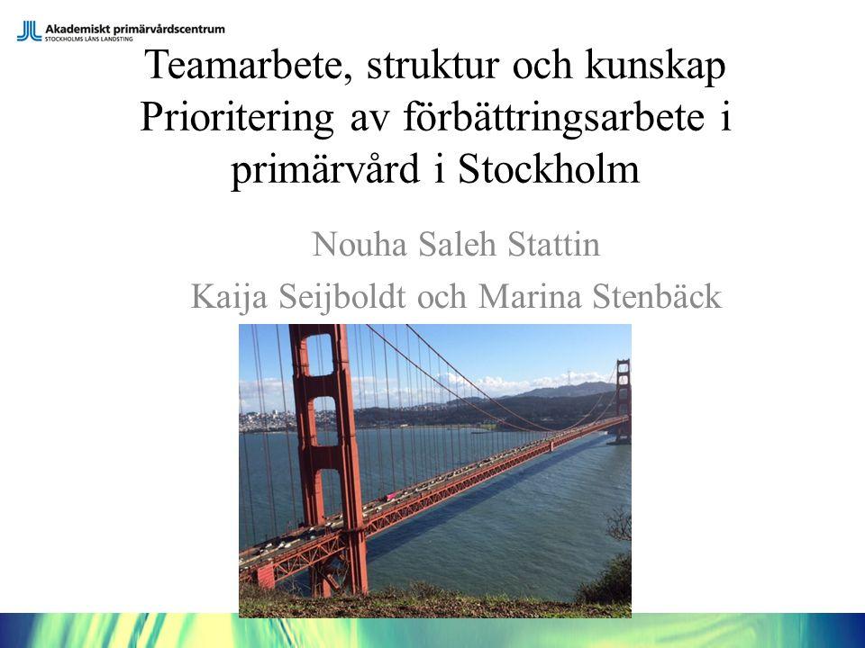 Teamarbete, struktur och kunskap Prioritering av förbättringsarbete i primärvård i Stockholm Nouha Saleh Stattin Kaija Seijboldt och Marina Stenbäck