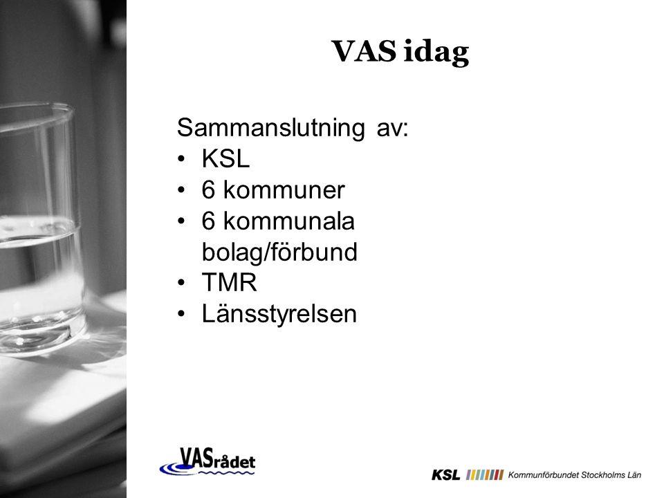 VAS idag Sammanslutning av: KSL 6 kommuner 6 kommunala bolag/förbund TMR Länsstyrelsen