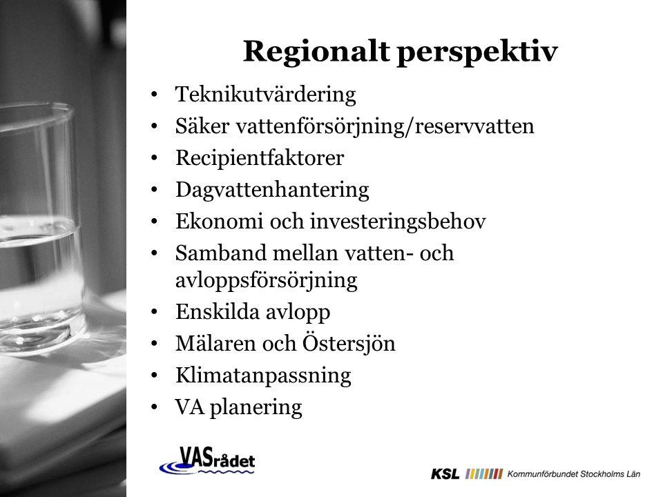 Teknikutvärdering Säker vattenförsörjning/reservvatten Recipientfaktorer Dagvattenhantering Ekonomi och investeringsbehov Samband mellan vatten- och avloppsförsörjning Enskilda avlopp Mälaren och Östersjön Klimatanpassning VA planering Regionalt perspektiv