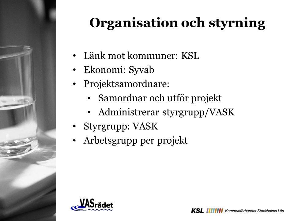 Organisation och styrning Länk mot kommuner: KSL Ekonomi: Syvab Projektsamordnare: Samordnar och utför projekt Administrerar styrgrupp/VASK Styrgrupp: VASK Arbetsgrupp per projekt