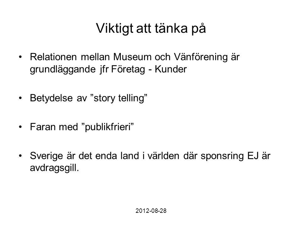 Viktigt att tänka på Relationen mellan Museum och Vänförening är grundläggande jfr Företag - Kunder Betydelse av story telling Faran med publikfrieri Sverige är det enda land i världen där sponsring EJ är avdragsgill.