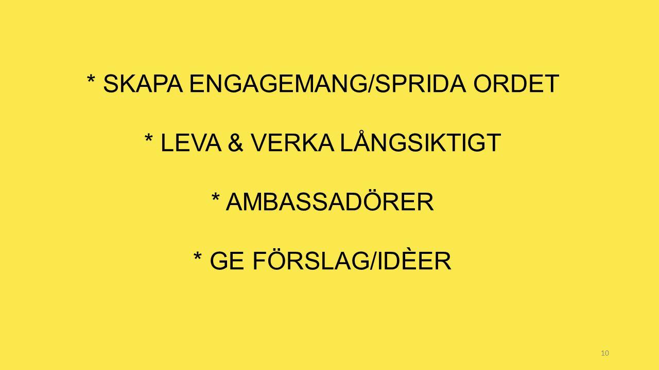 10 * SKAPA ENGAGEMANG/SPRIDA ORDET * LEVA & VERKA LÅNGSIKTIGT * AMBASSADÖRER * GE FÖRSLAG/IDÈER