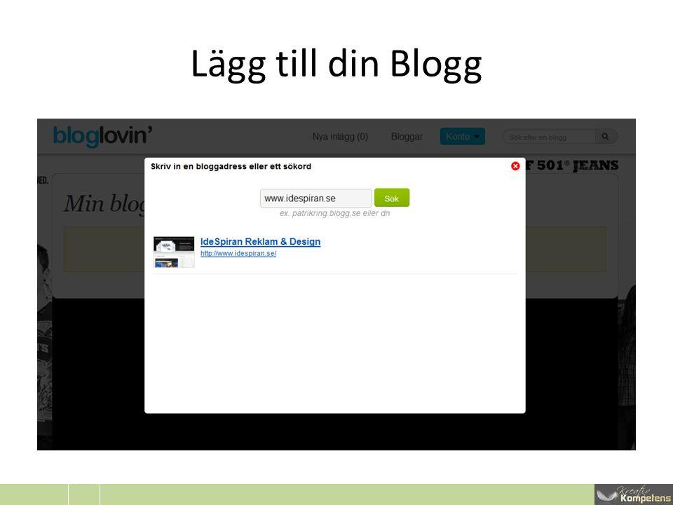 Lägg till din Blogg