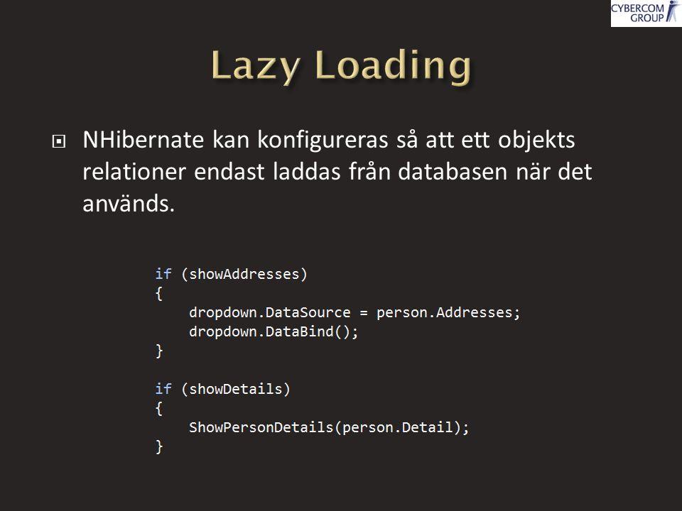  NHibernate kan konfigureras så att ett objekts relationer endast laddas från databasen när det används.