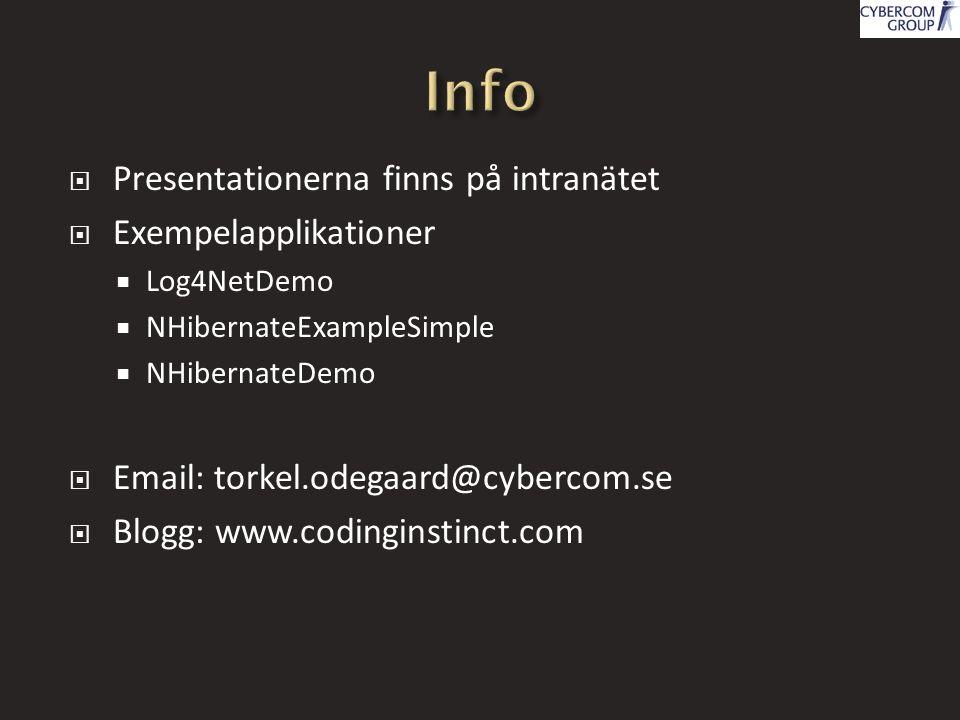  Presentationerna finns på intranätet  Exempelapplikationer  Log4NetDemo  NHibernateExampleSimple  NHibernateDemo  Email: torkel.odegaard@cyberc