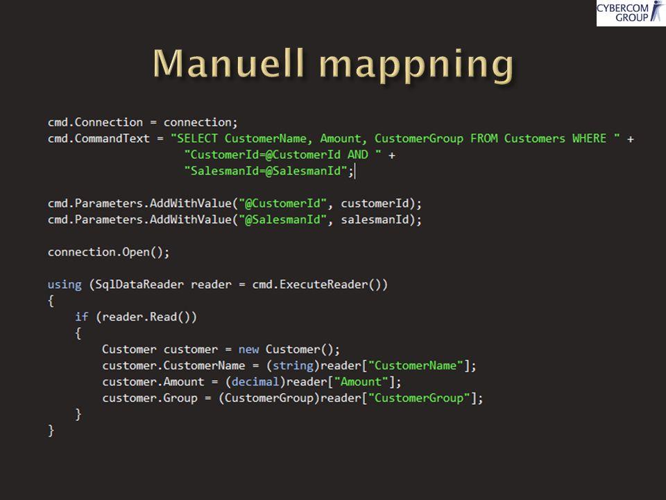  Transparent persistence  Mappning mellan klasser och databas  XML  Attributer  Genererar SQL dynamiskt  Möjliggör stöd för flera databaser