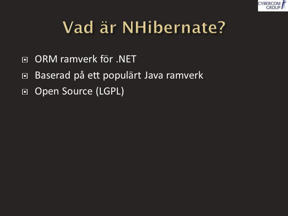  ORM ramverk för.NET  Baserad på ett populärt Java ramverk  Open Source (LGPL)