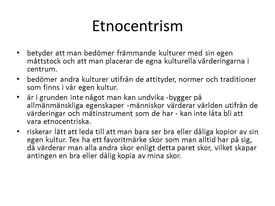 Etnocentrism betyder att man bedömer främmande kulturer med sin egen måttstock och att man placerar de egna kulturella värderingarna i centrum.