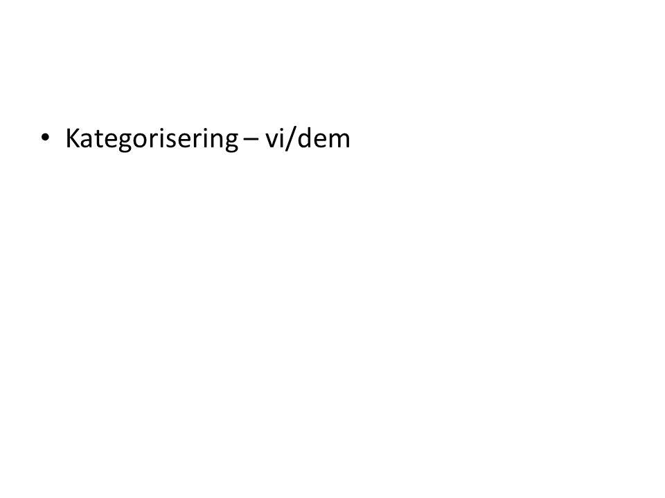 Kategorisering – vi/dem