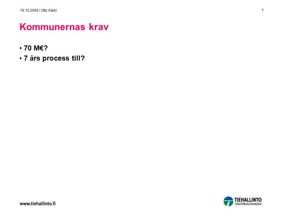 7 19.10.2009 / Otto Kärki Kommunernas krav 70 M€ 7 års process till