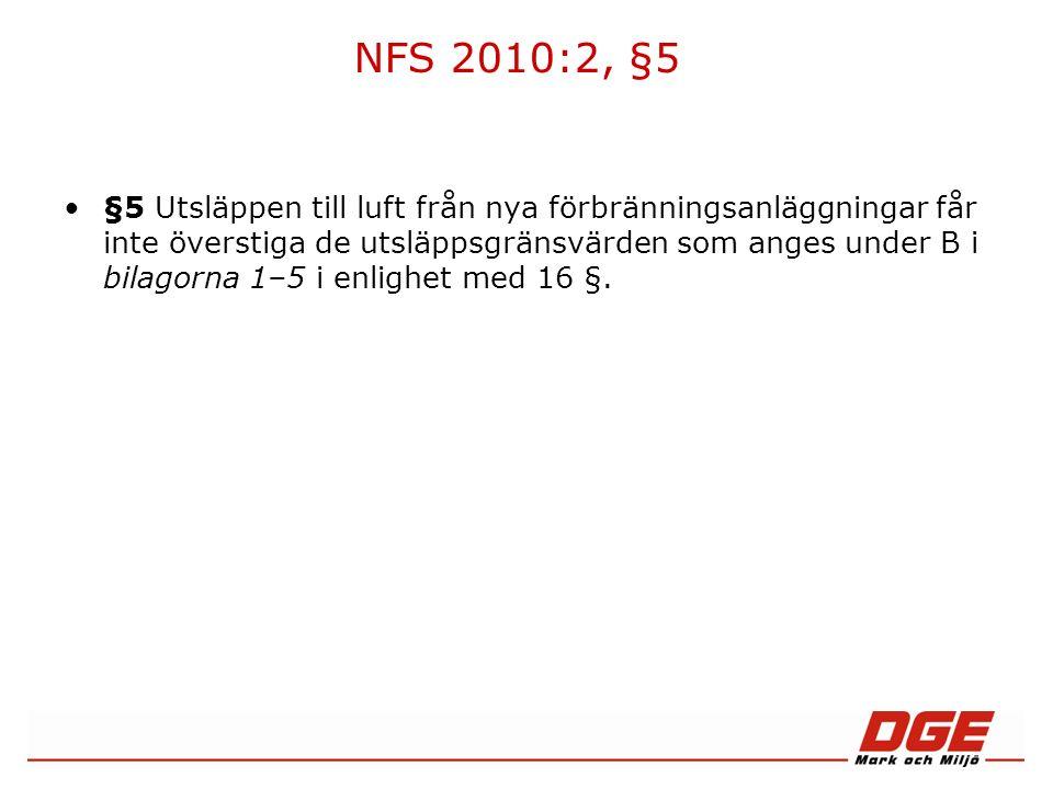 NFS 2010:2, §5 §5 Utsläppen till luft från nya förbränningsanläggningar får inte överstiga de utsläppsgränsvärden som anges under B i bilagorna 1–5 i enlighet med 16 §.