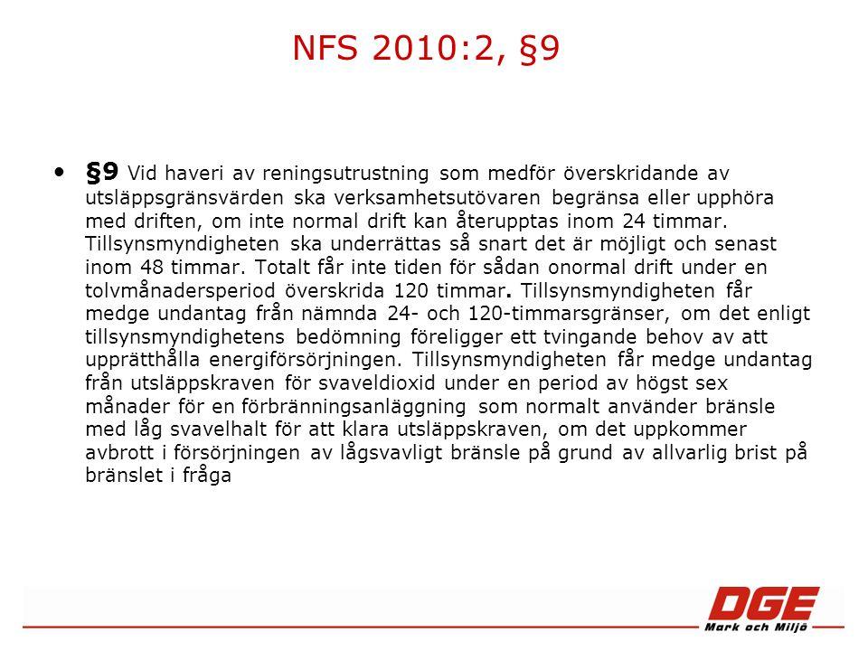NFS 2010:2, §9 §9 Vid haveri av reningsutrustning som medför överskridande av utsläppsgränsvärden ska verksamhetsutövaren begränsa eller upphöra med driften, om inte normal drift kan återupptas inom 24 timmar.