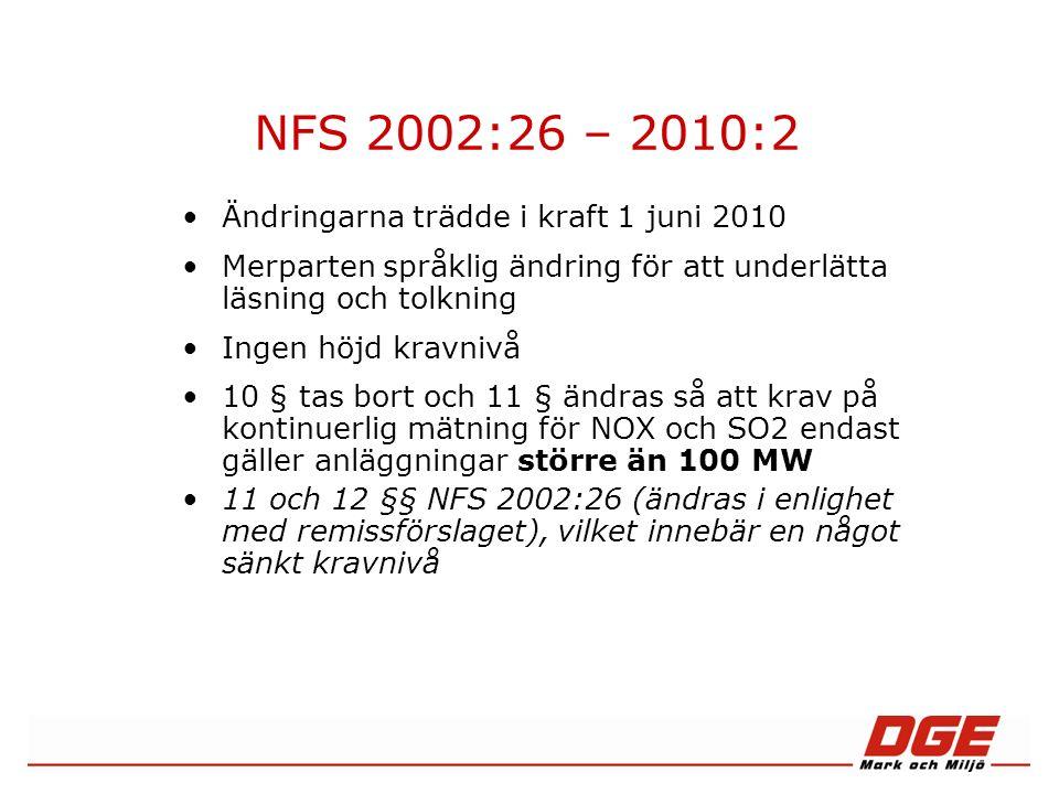 NFS 2010:2, §16 §16 Utsläppskraven för nya förbränningsanläggningar är uppfyllda, om under ett kalenderår (faktisk drifttid) »inget validerat dygnsmedelvärde överskrider utsläppsgränsvärdena under B i bilagorna 1– 5, och »minst 95 % av alla validerade timmedelvärden under året underskrider 200% av utsläppsgränsvärdena under i bilagorna 1–5.
