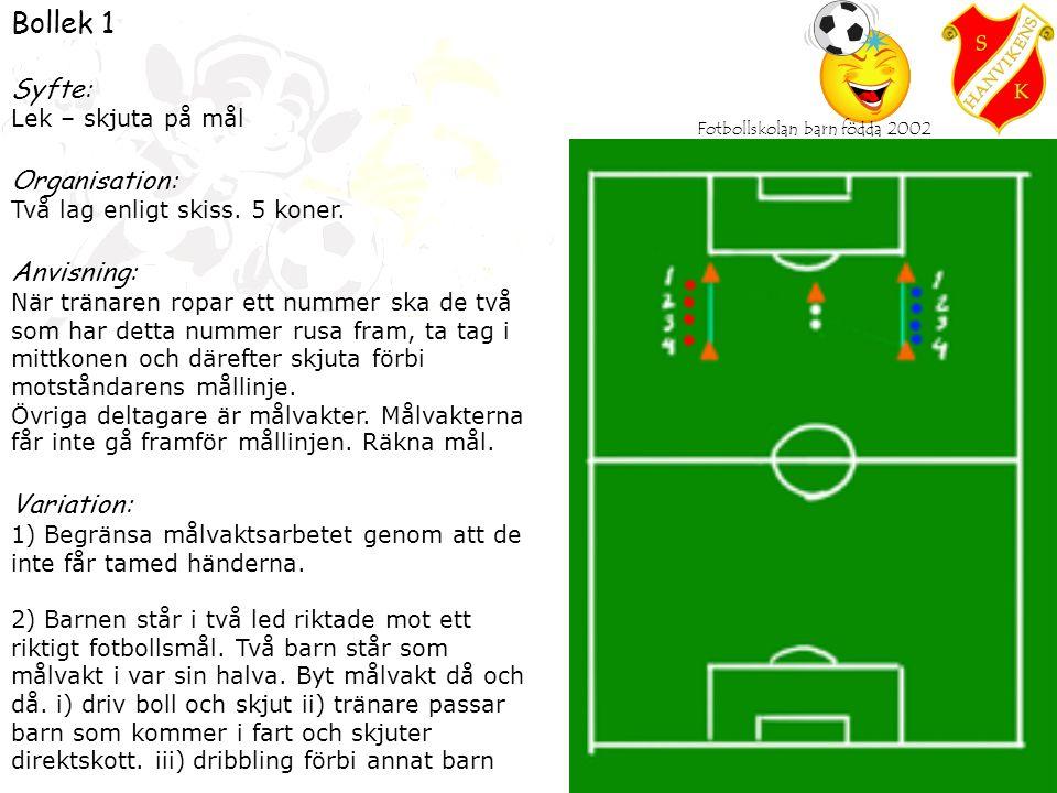 Fotbollskolan barn födda 2002 Bollek 1 Syfte: Lek – skjuta på mål Organisation: Två lag enligt skiss.
