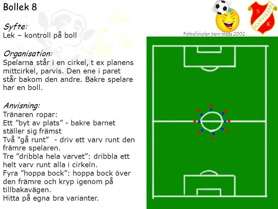 Fotbollskolan barn födda 2002 Bollek 8 Syfte: Lek – kontroll på boll Organisation: Spelarna står i en cirkel, t ex planens mittcirkel, parvis.