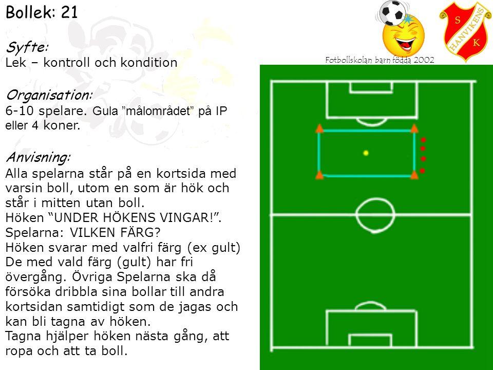 Fotbollskolan barn födda 2002 Bollek: 21 Syfte: Lek – kontroll och kondition Organisation: 6-10 spelare.