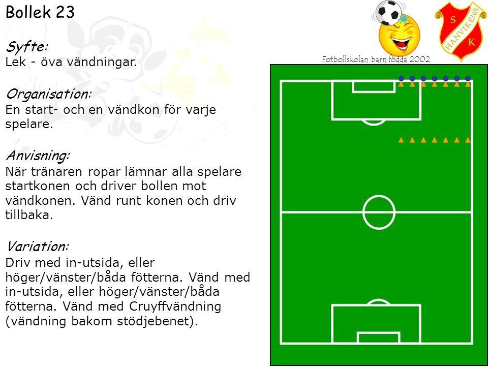 Fotbollskolan barn födda 2002 Bollek - match Syfte: Lek - öva match.