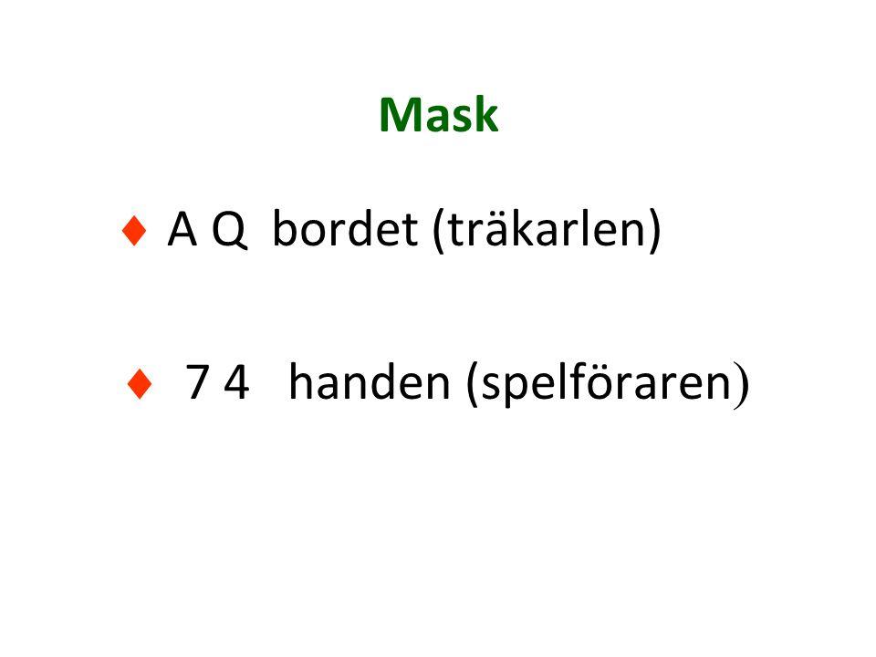 Mask  A Q bordet (träkarlen)  7 4 handen (spelföraren )