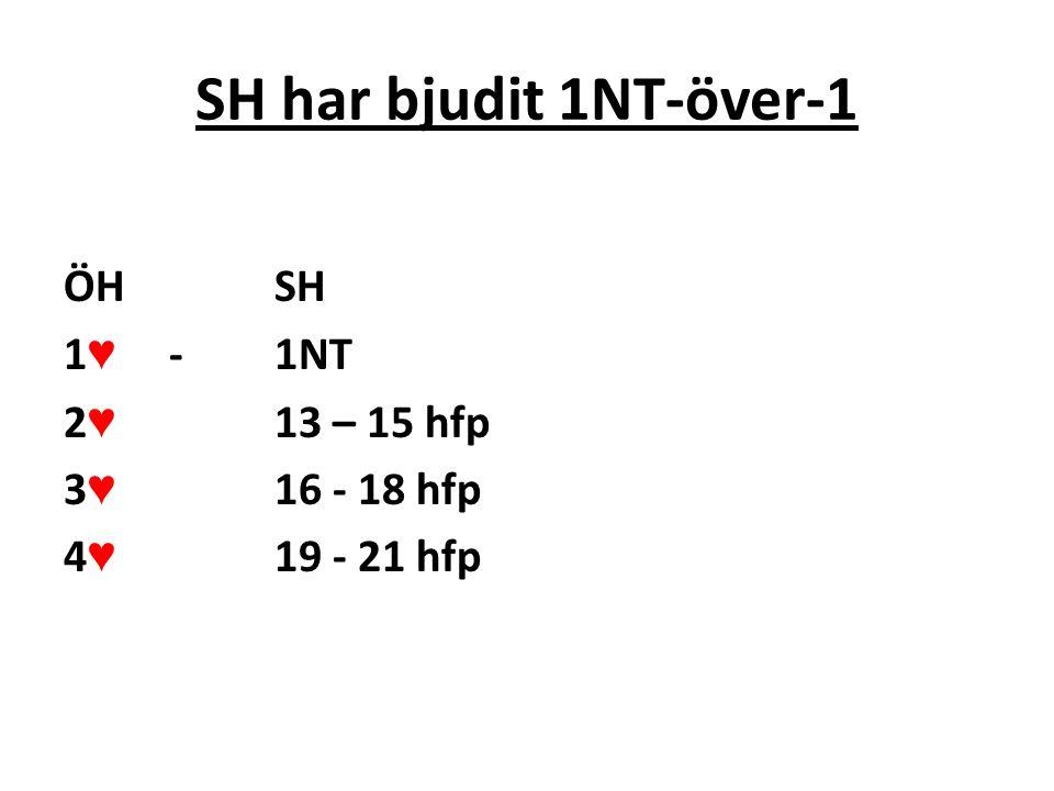 SH har bjudit 2-över-1 ÖHSH 1 ♥ - 2 ♣ 2 ♥ 13 – 15 hfp 3 ♥ 16 – 21 hfp, utgångskrav
