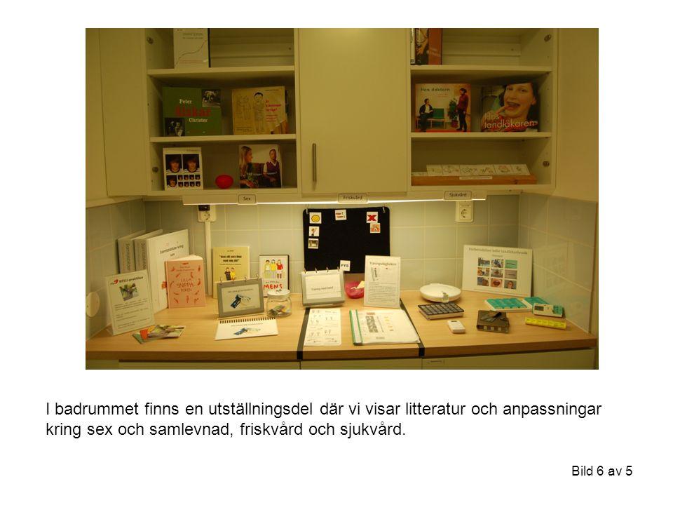 I badrummet finns en utställningsdel där vi visar litteratur och anpassningar kring sex och samlevnad, friskvård och sjukvård.